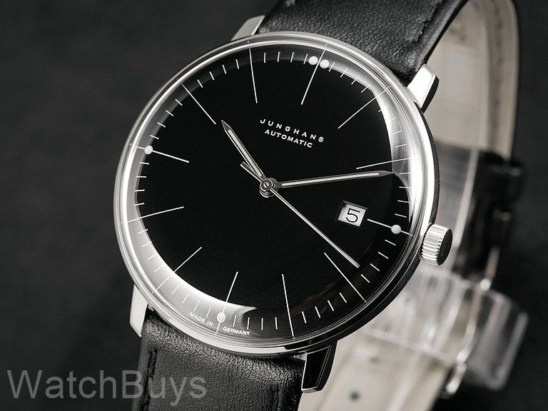 junghans max bill date black dial indices. Black Bedroom Furniture Sets. Home Design Ideas